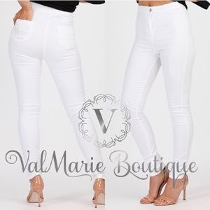 High Waist white skinny jeans